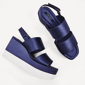 Zara Satin navy and white flatform sandals 38